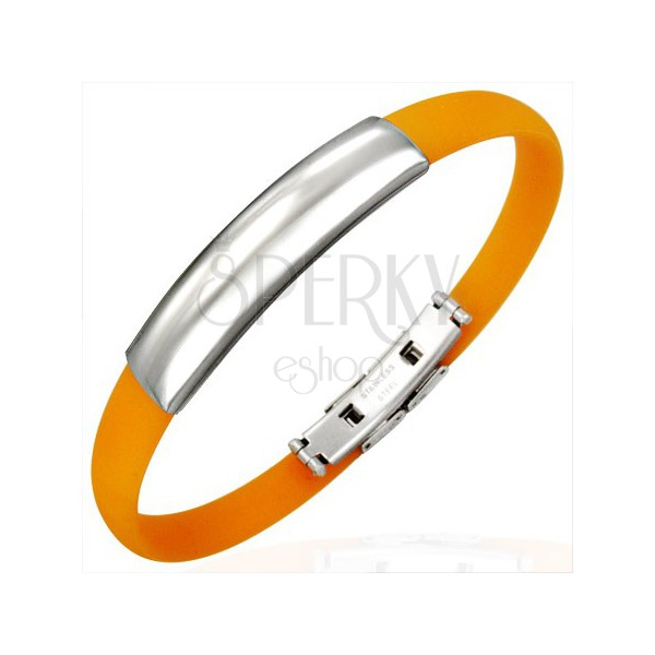Orange rubber bracelet - smooth ID plate