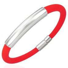 Round silicone bracelet with smooth tag, red