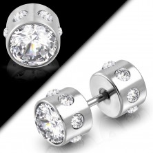 Fake steel piercing two-sided with cut zircons in clear colour