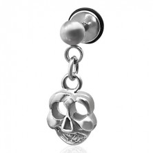 Fake piercing with a skull pendant