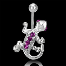 Belly button ring - lizard with purple zircons