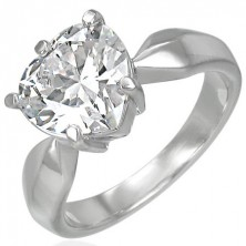 Engagement ring with big clear zircon in the shape of heart