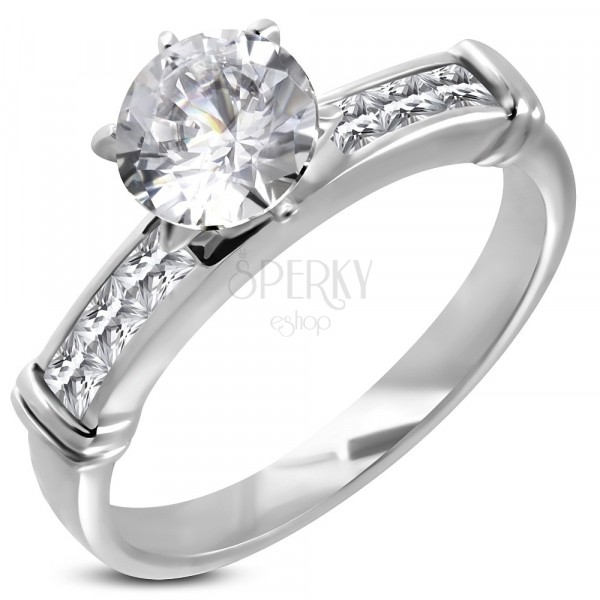 Engagement ring with big embedded zircon, zircon line in angular front part
