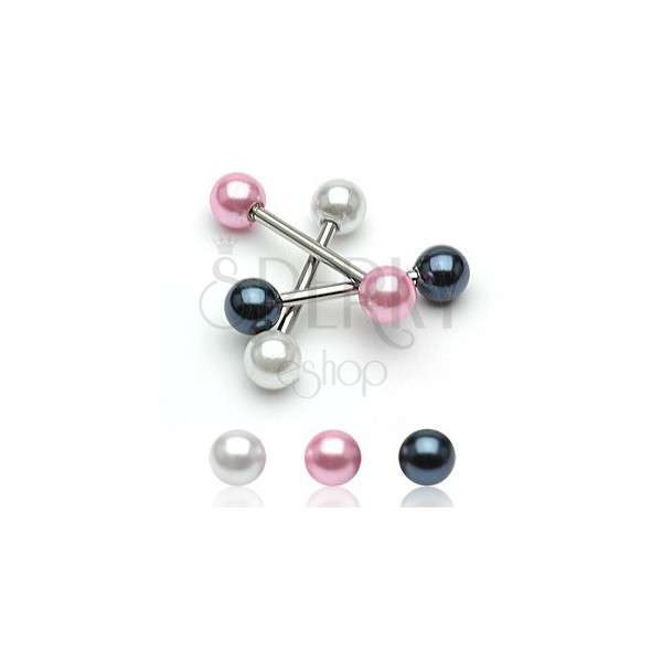 Tongue piercing with a pearl ball