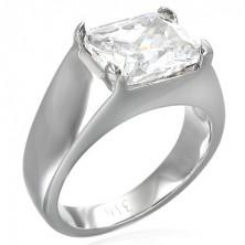 Massive ring with rectangular zircon
