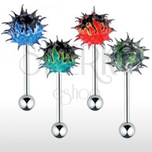 Tongue piercing a silicone colourful fiery hedgehog