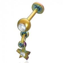 Anodized dangle star labret
