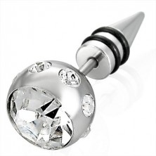 False piercing in a silver colour - large bead with zircon, a tip with two black rubber bands