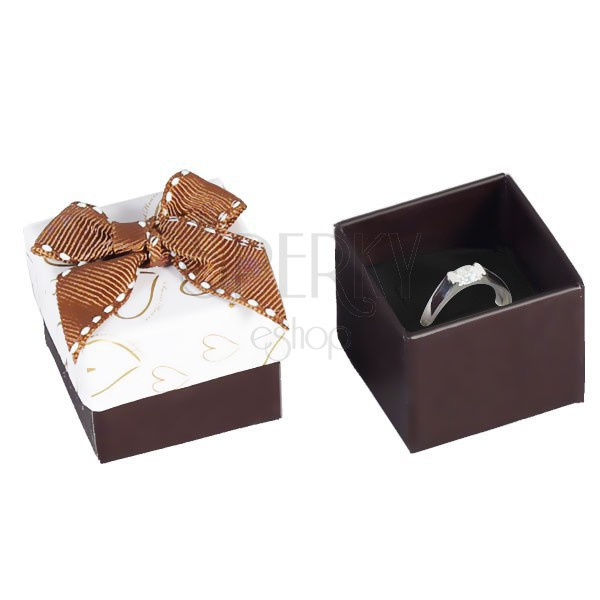 Brown and white jewellery gift box heart contours quilted bow