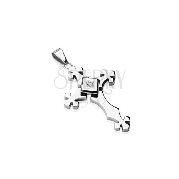 Steel pendant in clear colour - cross with zircon inside a square