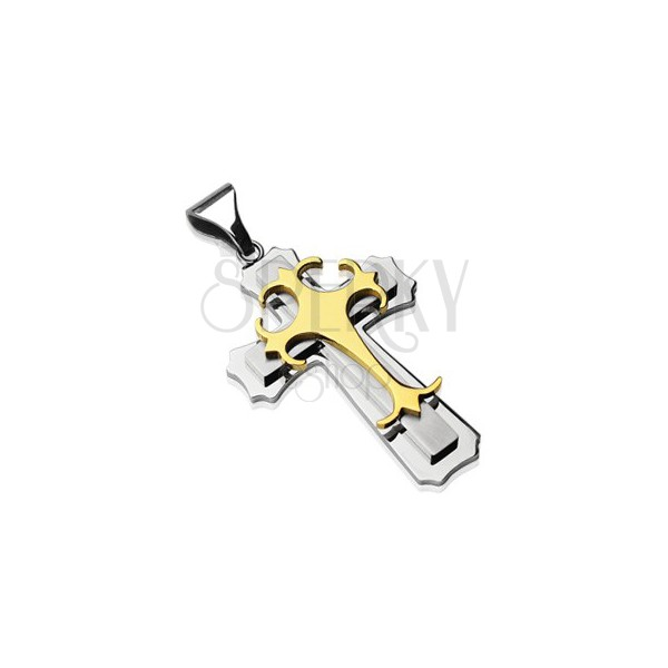Pendant made of surgical stee - triple cross in gold and silver colour