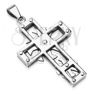 Stainless steel pendant - cross with spinning wheels
