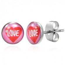 Stud steel earrings - red heart, LOVE inscription
