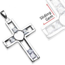 Pendant made of steel - cross with movable gems