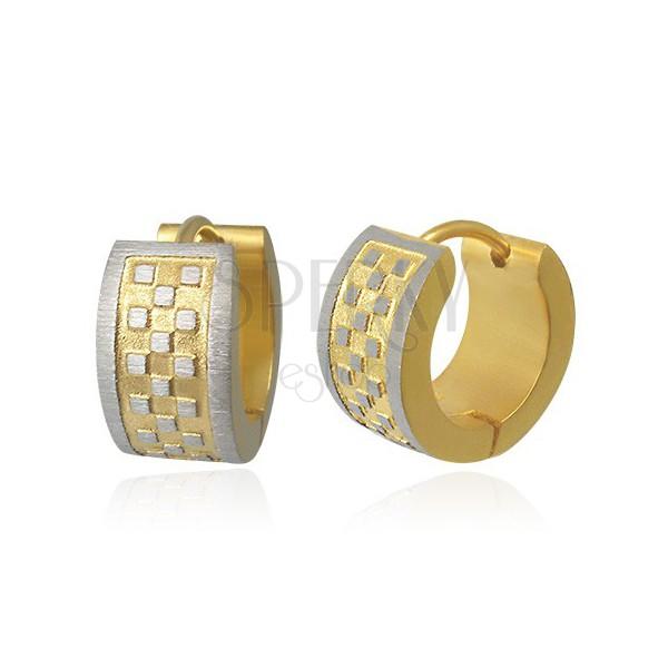 Steel earrings - fluted with chessboard pattern