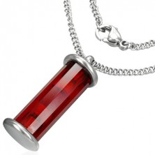 Red cylinder pendant on stainless steel chainlet