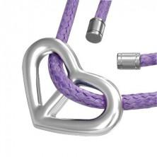 Heart-shaped pendant on purple string