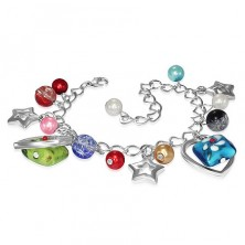 Bracelet decorated with various beads, metal stars and hearts