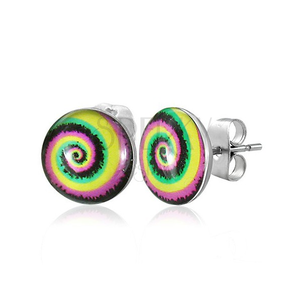 Stud steel earrings - colourful spiral
