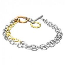 Double chain bracelet - four-leaf clover
