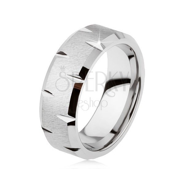 Tungsten ring with satin surface, delicate shiny notches along periphery