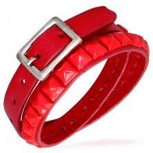 Doubled red bracelet made of leather with studs