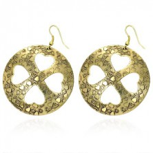 Earrings with four-leaf clover made of hearts