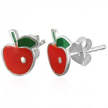 Stud silver 925 earrings - red apple with leaf