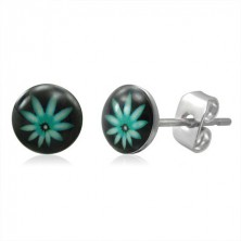 Stud steel earrings - green ganja leaf
