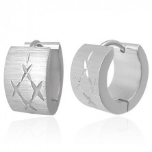 Earrings made of 316L steel with matt surface, silver colour, intersecting notches