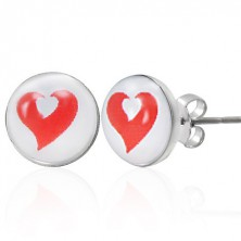Stainless steel earrings - red and white heart