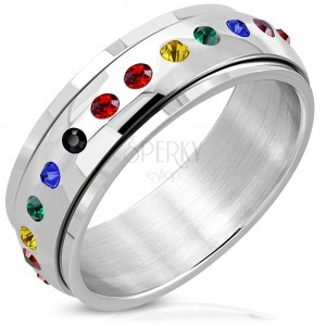 Stainless steel ring with spinning colorful centre