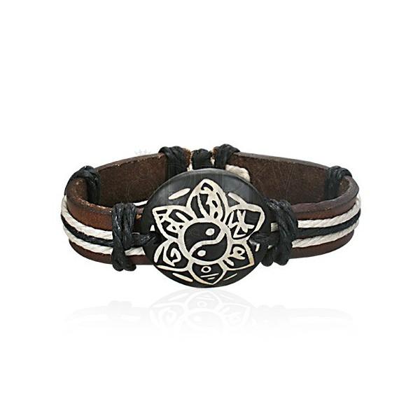 Dark brown leather bracelet - Yin Yang flower