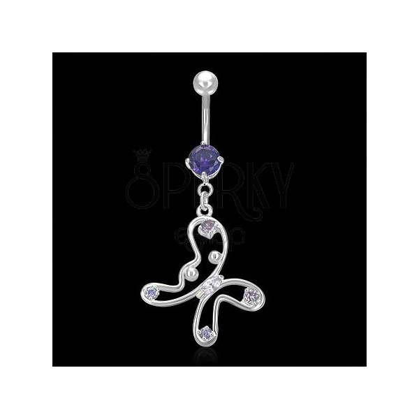 Buttefly belly ring with balls and rhinestones