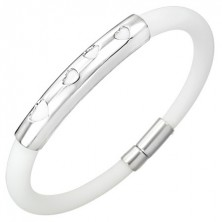 White round silicone bangle - hearts