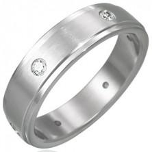Matt steel ring with six embedded zircons