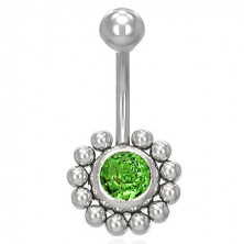 Flower belly ring with zircons