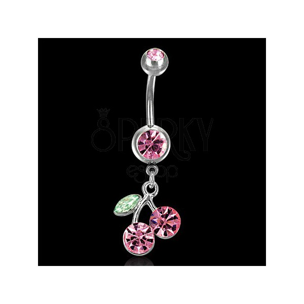 Belly ring with reversible cherry pendant