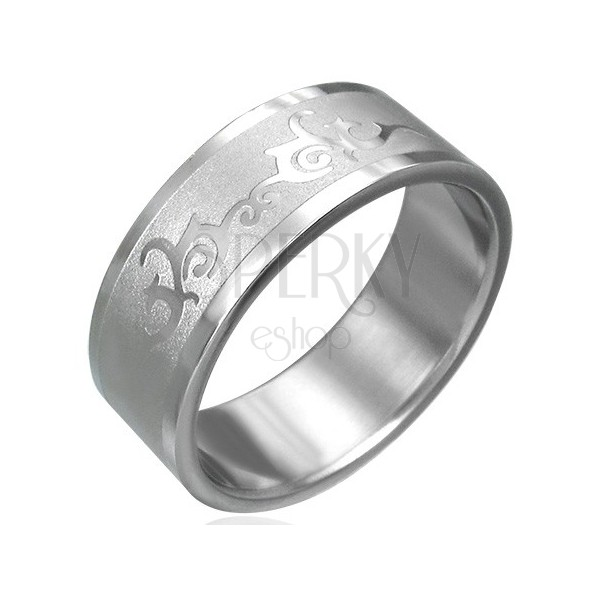 Stainless steel ring with ornament