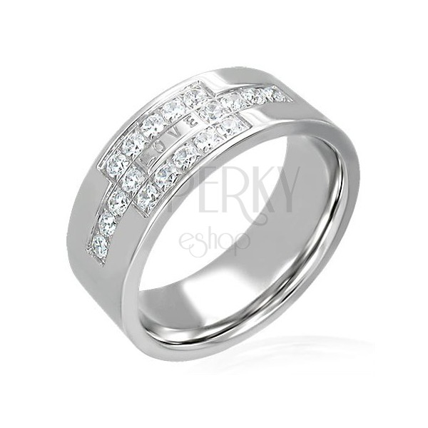 Steel ring with zircons and LOVE inscription