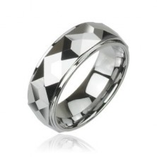 Tungsten ring with cut angular plates, high gloss, 8 mm