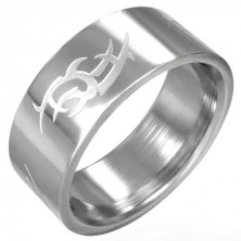 Shiny steel ring with matt Tribal symbol