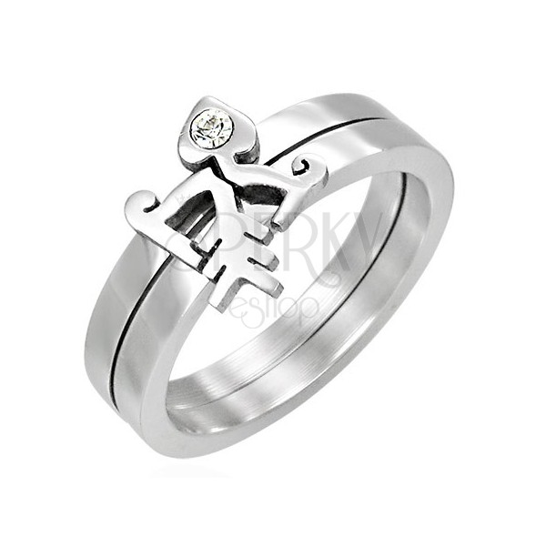 Two-piece Fishbone ring with zircon