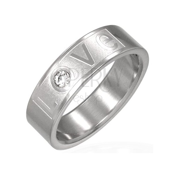 LOVE stainless steel ring with zircon