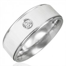 Stainless steel ring with zircon - satin gloss