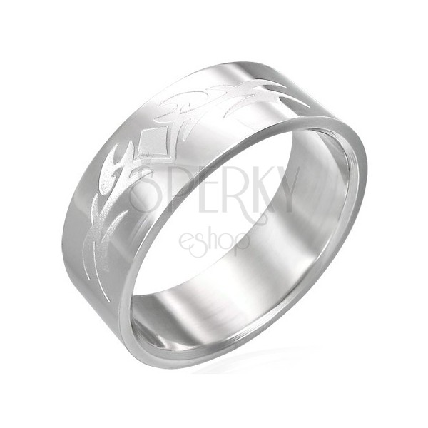 Shiny stainless steel ring with matt ornament