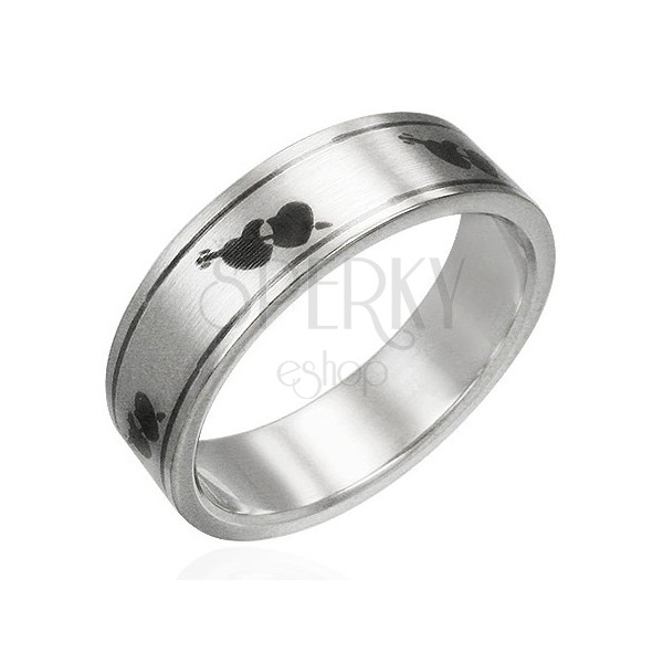 Matt stainless steel ring - hearts and arrow