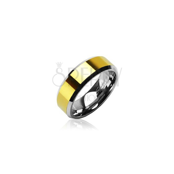 Tungsten ring with golden center