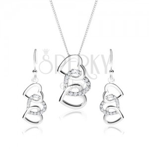 925 silver set, earrings and necklace - silhouettes of three interconnected hearts, clear zircons