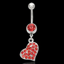 Red heart belly button ring